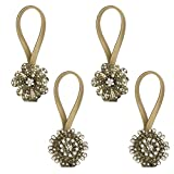 Gent House Magnetic Crystal Curtain Tieback Clips Flower Shape Decoratice Drapes Holdbacks Buckle Pack of 4(Bronze)