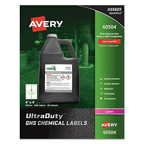 UltraDuty GHS Chemical Labels, 4 x 4, White, 200/Box