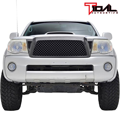 (Tidal Replacement Upper Grille ABS Full Mesh Front Hood Grill for 05-11 Toyota Tacoma)