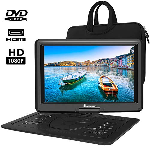NAVISKAUTO 16″ Portable DVD Player with Free Carry Bag and Rechargeable Battery Support HDMI Input, 1080P Video, Sync Screen, Last Memory, Region Free, AV in & Out, USB TF Card
