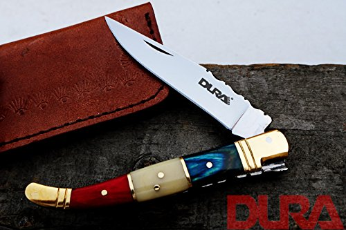 DURA KNIVES Dk-56 Camel and Wood 4'' inches Folded Original Laguiole Folding Custom Handmade Stainless Steel Blade Pocket Knife 100% Prime Quality Plus Beautiful Brass Bolster Limited Edition -