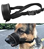 Mihqy Quick Fit Nylon Dog Muzzle - Nylon Adjustable Loop with Soft Padding Nylon – Prevent from Biting, Barking and Chewing - Perfect for Medium and Large Dogs, Black - L
