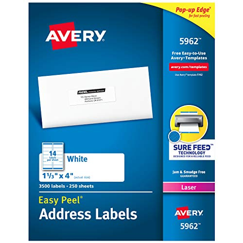 Avery Address Labels with Sure Feed for Laser Printers, 1-1/3