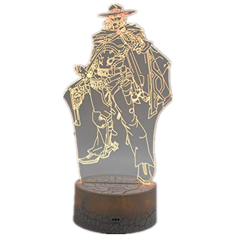 Novelty Lamp, Overwatch Jesse·McCree 3D Stereo Vision Home Life Decoration USB Touch/Remote Control 16 Color Acrylic LED Table Lamp Creative Game Character Model Toy Fashion Gift (Overwatch Jesse·McCr