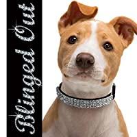 "Diamond Bling Collar | Safe Leather and Elegant Sparkling Rhinestones Crystal Diamante Dog Collar with Adjustable Clasp Up to 11"" and Ring Bell 