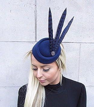 Navy Blue Black Pheasant Feather Pillbox Hat Fascinator Hair Races Clip Vtg  4626  Amazon.co.uk  Beauty 9d72f73c27e
