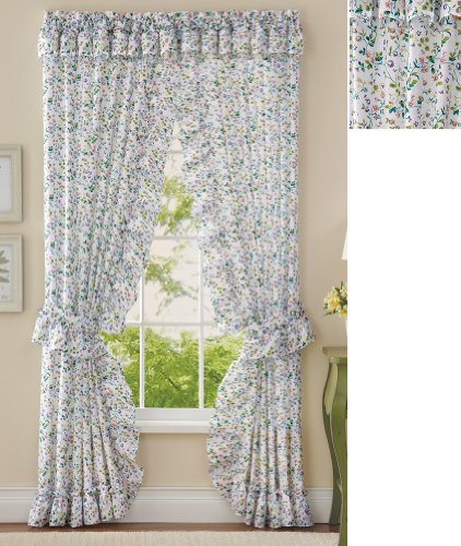 (Collections Etc Floral Plisse Ruffle Valance & Curtain Set, Multicolor)
