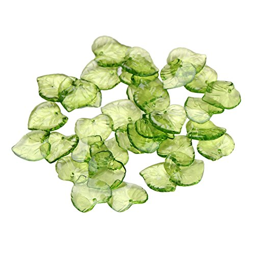 NBEADS 500g Transparent Acrylic Pendants, Leaf, Green, About 15mm Long, 15mm Wide, 2mm Thick, Hole: 1.5mm, 1700pcs/500g