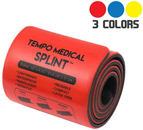 """TEMPO MEDICAL SPLINT For Immobilization First Aid Kit for Neck, Leg, Knee, Foot, Wrist, Hand, Arm Injuries Lightweight, Flexible, Washable, Reusable, Sam 36"""" x 4.25"""" Red (1 Roll)"""