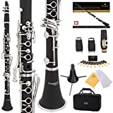 Mendini by Cecilio Premium Grade B Flat Clarinet with 2 Barrels, Case, Stand, Book, 10 Reeds, Mouthpiece and Warranty-Black Ebonite (MCT-JE2)