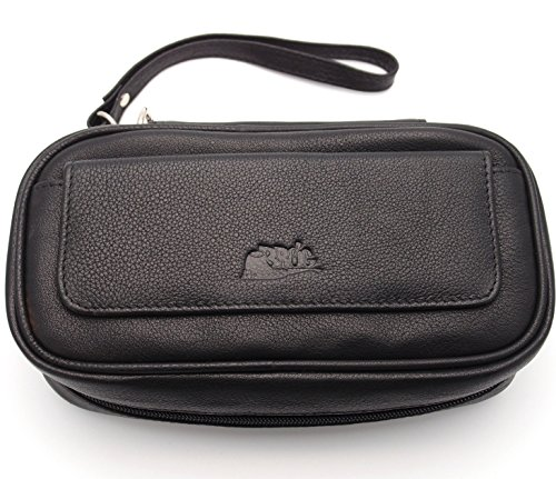 Tobacco Pipe Leather Case - 3 Pipes - Authentic Full Grade Leather - Black by Mr. Brog (Image #6)