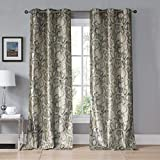 Cheap Kensie – Beverly Faux Silk Snake Skin Grommet Top Window Curtains for Living Room & Bedroom – Assorted Colors – Set of 2 Panels (38 X 96 Inch – Taupe)
