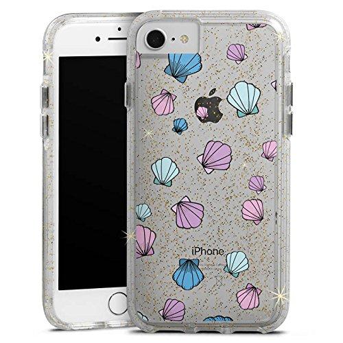 Apple iPhone 7 Bumper Hülle Bumper Case Glitzer Hülle Muscheln ohne Hintergrund Muster