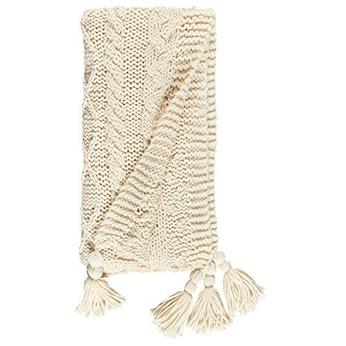 Stone & Beam Cozy Cable Knit Chunky Weave Throw Blanket, 60