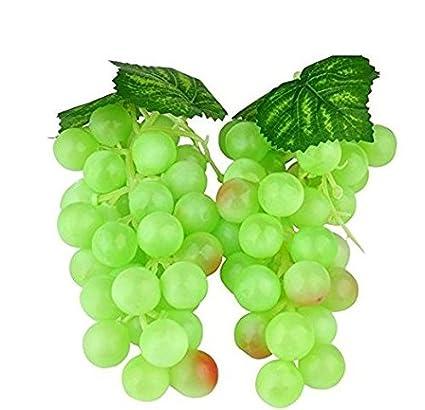 Wady 2pc Deko Kunststoff Weintrauben Wein Trauben Kunstobst Plastikobst künstliches Obst Gemüse Dekoration 2 mal 17cm (Grün)