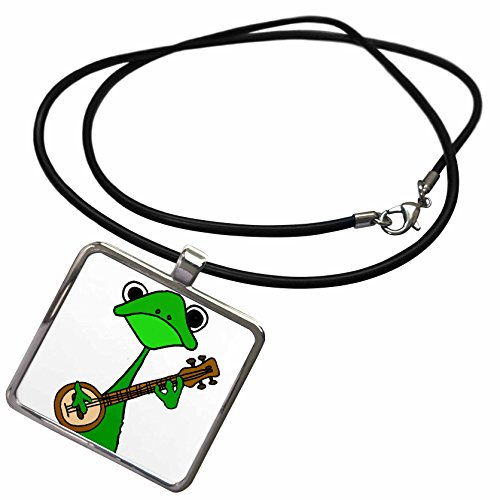 3dRose All Smiles Art Music - Funny Cute Green Tree Frog Playing The Banjo - Necklace with Rectangle Pendant ()