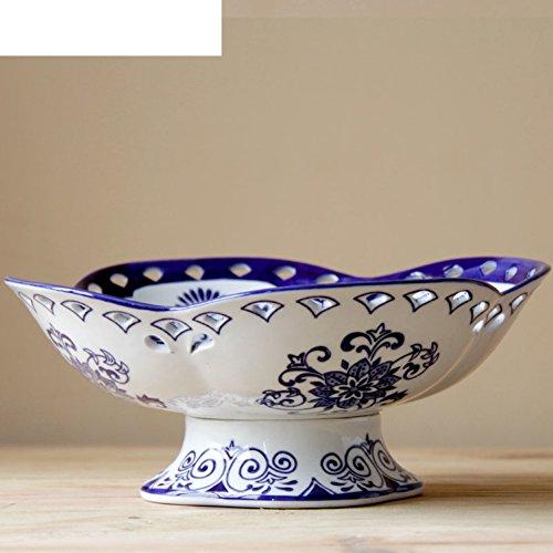 Pedestal pierced fruit plates/Ceramic fruit bowl/decorative ornaments-A