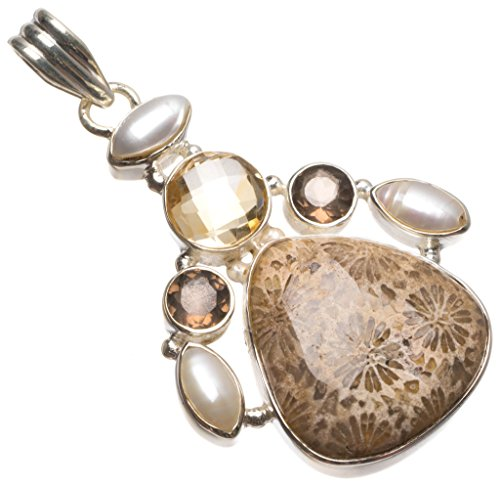 Natural Chrysanthemum Jasper,Citrine,Smoky Quartz River Pearl 925 Sterling Silver Pendant 2