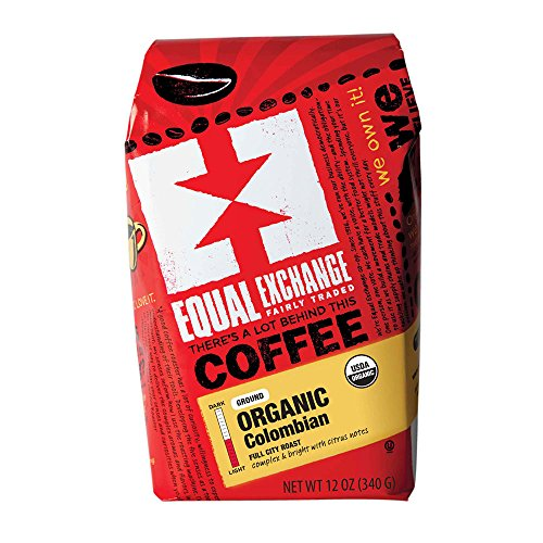 (Equal Exchange Organic Coffee | Colombian | Complex and Bright | Refined Citrus Notes, Dried Fig, Sweet Chocolate, Spice, and Banana | Ground | 12-Ounce Bag)