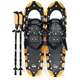 "New MTN 22"" Gold All Terrian Snowshoes + Black Nordic Pole + Free Carrying Bag"