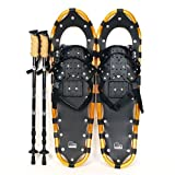 New MTN 22'' Gold All Terrian Snowshoes + Black Nordic Pole + Free Carrying Bag
