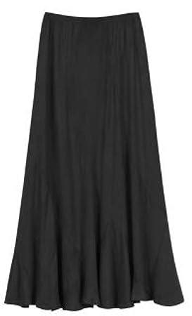 ZengBuks Falda de una línea de Color Liso Falda de Talle Alto ...