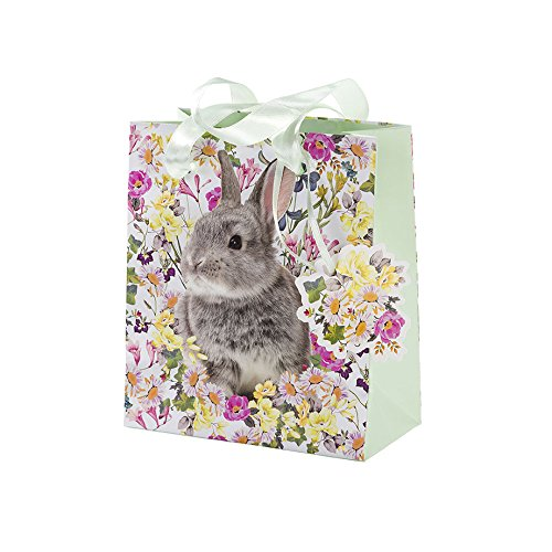 Talking Tables Truly Bunny Small Floral Rabbit Gift Bag with Ribbon Handles and Tag for an Easter Celebration or Children's (Bunny Pinata)