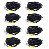 VideoSecu 8 Pack 150ft BNC CCTV Video Power Cables CCD Security Camera DVR Wires Cords for Home Surveillance System with bonus Adaptors 1QX, Best Gadgets
