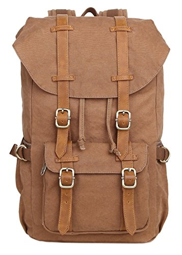 Veenajo Vintage Laptop Canvas Backpack,Casual Large College School Daypack,Travel Hiking Camping Rucksack Pack, Shoulder Book Bags Back for Men Outdo…