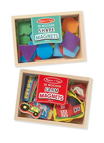 - Melissa & Doug Wooden Magnets Set - Shapes and Farm (45 pcs)