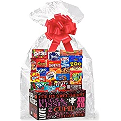 Valentines Day Thinking Of You Cookies, Candy & More Care Package Snack Gift Box Bundle Set