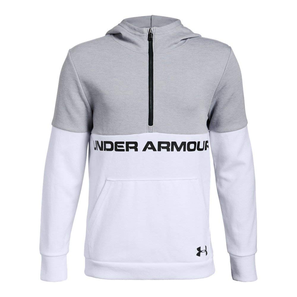 Under Armour Boys Double Knit 1/2 Zip Hoodie, White (100)/Black, Youth Large by Under Armour