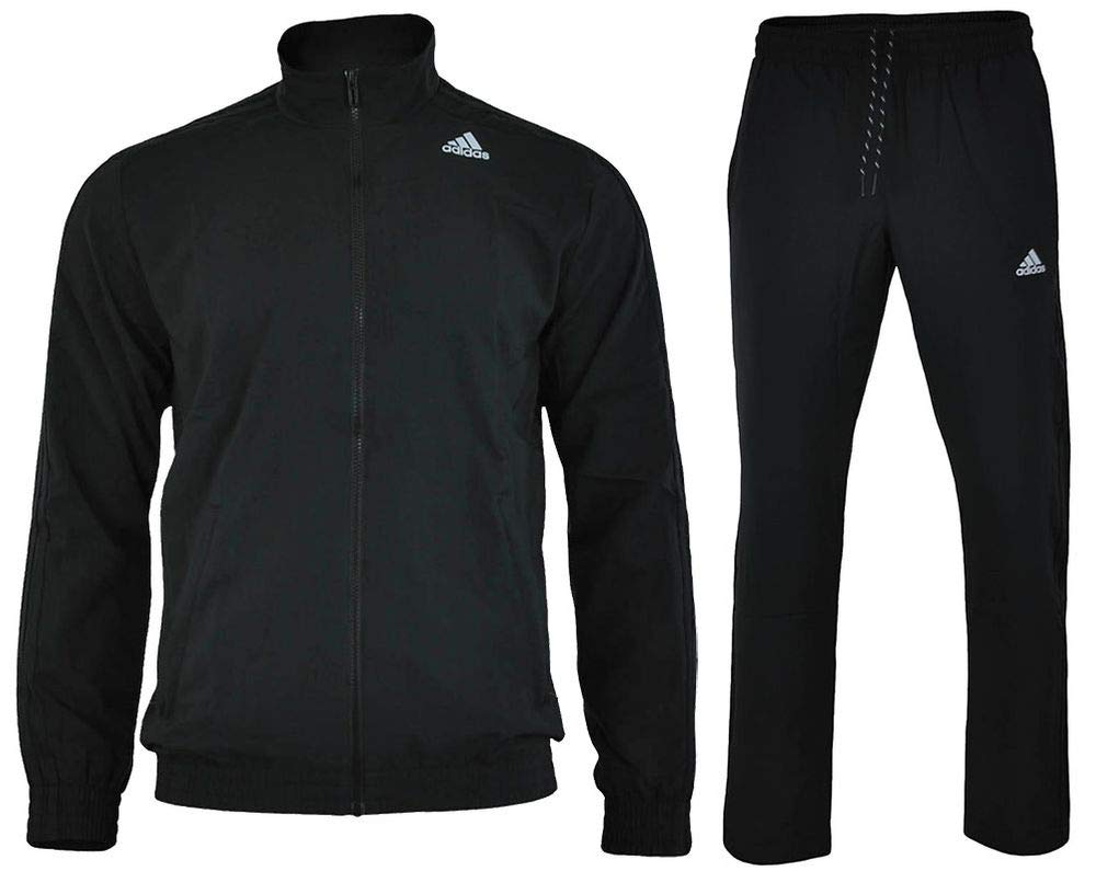 adidas Men's Essentials Woven Tracksuit Track Top Pants Training Set Black S22466