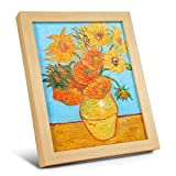 Peterson Art - 10 x 8 inch Real Hand Painted Oil Painting Sunflowers By Vincent Van Gogh Artwork On Canvas Stretched And Wood Framed Wall Art Desktop Decoration Gift Reproduction