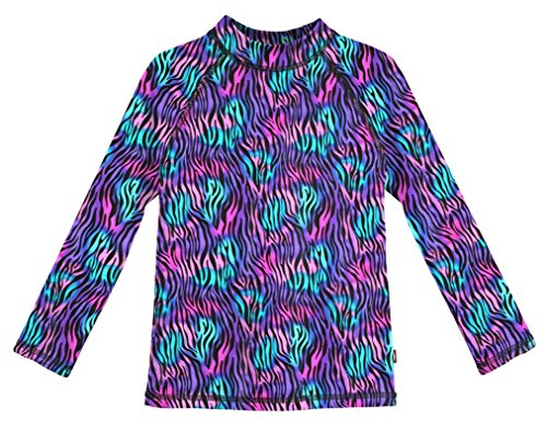 City Threads LS Girls' Rashguard Swimming Suit Swim Tshirt Tee UPF50+ Sun Protection for Beach Pool Summer Fun, Electric Zebra, 4