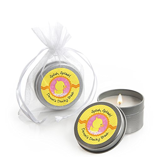 Custom Pink Ducky Duck - Personalized Candle Tin Baby Shower Favors - Set of 12