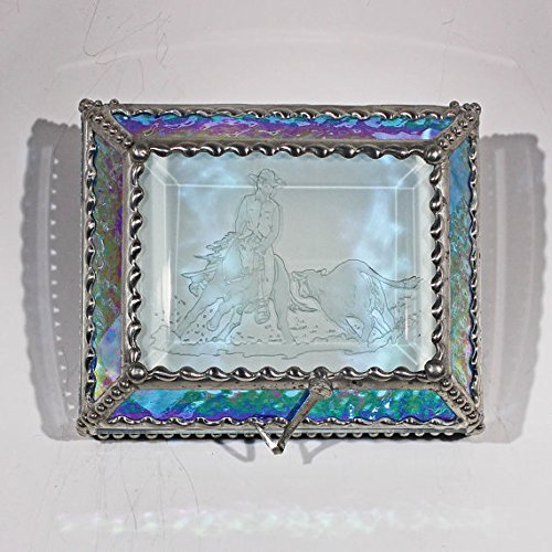 Cowboy, Cutter, Rodeo, Stained Glass Jewelry Box, Presentation Box, Keepsake Box, Glass Jewels, Swarovski Crystals, USA Made by Glass Treasure Box