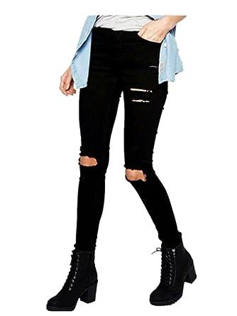 the cheapest best sell delicate colors Bonjouree Jeans Femme Troué Taille Haute Noire Slim Skinny