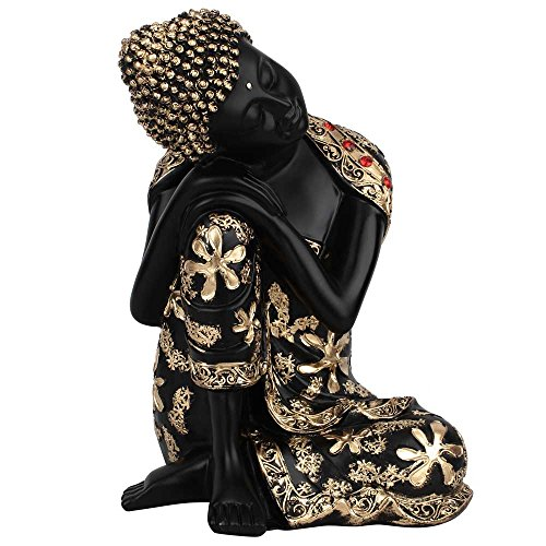 (Statuestudio Tibet Zen Gautama Buddha Mini Resin Decorative Statue Figurine/Antique Shakyamuni Thinking Resin Idol for Meditation, Peace & Protection/Nepal Siddhartha Bust Sitting Sculpture-Black)