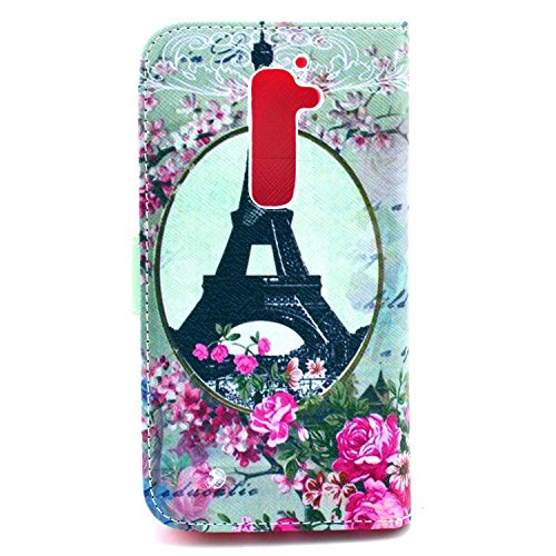LG G2 Case, Eiffel Tower Floral Blossom Flip Wallet Credit ID Card Slot Holder Phone Case With Stand --Retail Package W Screen Protector --Romantic