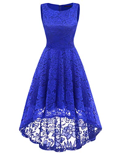 DRESSTELLS Women's Homecoming Vintage Floral Lace Hi-Lo Cocktail Formal Swing Dress Dress Royal Blue 3XL by DRESSTELLS