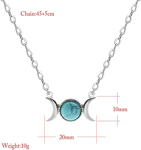 Necklace Triple Moon Sun Pendant Natural Opal Gemstone Silver Chain Necklace Z