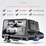 OVERMAL 3 Lens 4 '' G-sensor HD 1080P Car DVR Dash Cam Video Recorder Rearview Camera