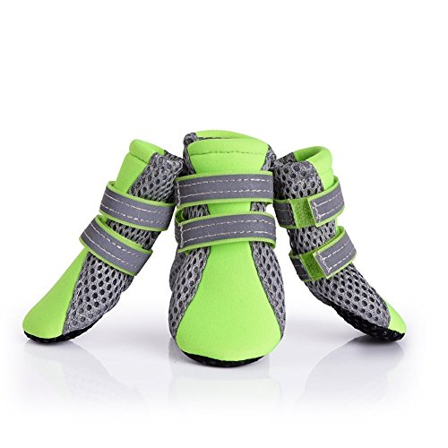 Puppy Dog Boots Daily Soft Sole Dog Shoes Nonslip Mesh Dogs paws Protector with 2 Long and Safe Reflective Velcro Straps