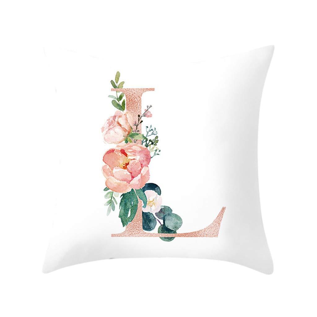 26Letter Animal Alphabet Cover Cotton linen Chair Decorative Pillow Case 45*45cm