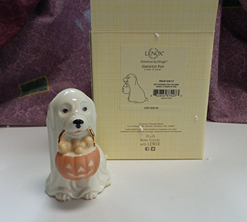 Lenox Halloween Puppy DOG Ghostly PUP with Pumpkin (Lenox Pumpkin)