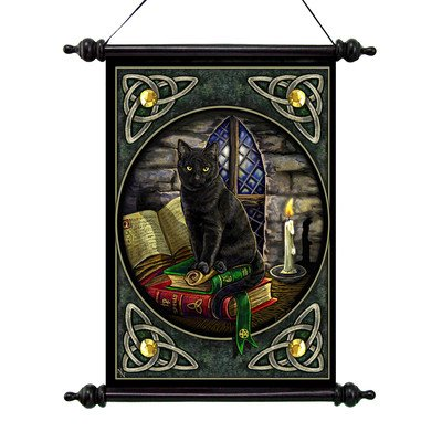 Cat and Books Canvas Wall Scroll Tapestry - Cat wall tapestry