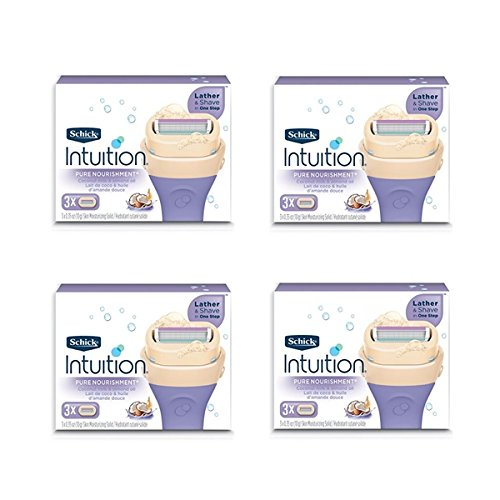 New Schick 100% Genuine Intuition Pure Nourishment Razor Refill Coconut Milk and Almond Oil Cartridge,4pack - 3 cartridges Each Pack Total 12 Cartridges