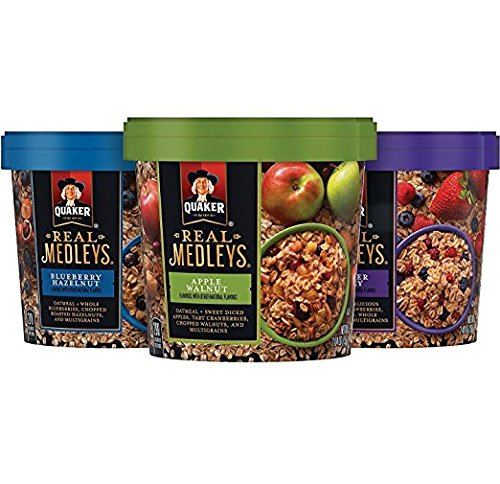 (Quaker Real Medleys Oatmeal+, Variety Pack, Instant Oatmeal+ Breakfast Cereal, 12)