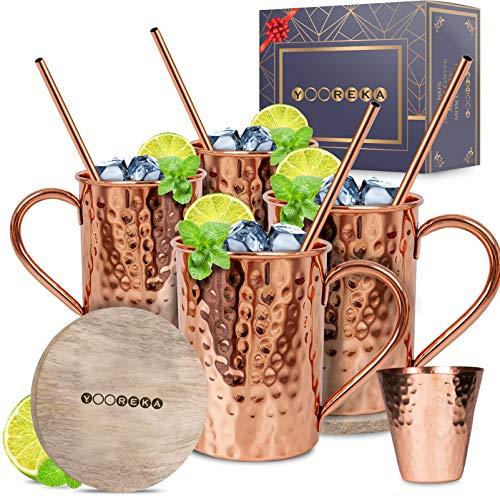 Moscow Mule Copper Mugs Set :4 16 oz. Solid Genuine Copper Mugs : Cylindrical Shape : Handmade in India, 4 Straws, 4 Wood Coasters, Shot Glass : Comes in Elegant Gift Box, by Yooreka by Yooreka